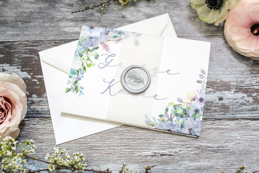 Blue floral concertina wedding invite vellum wax seal