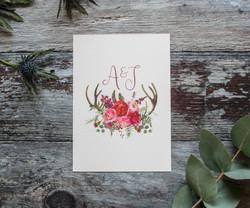 eucalyptus and deer antler wedding