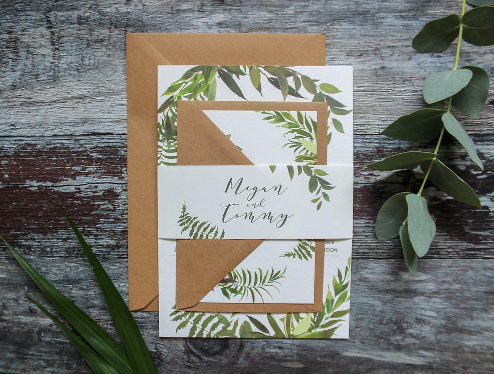 greenery botanical wedding invitation bundle