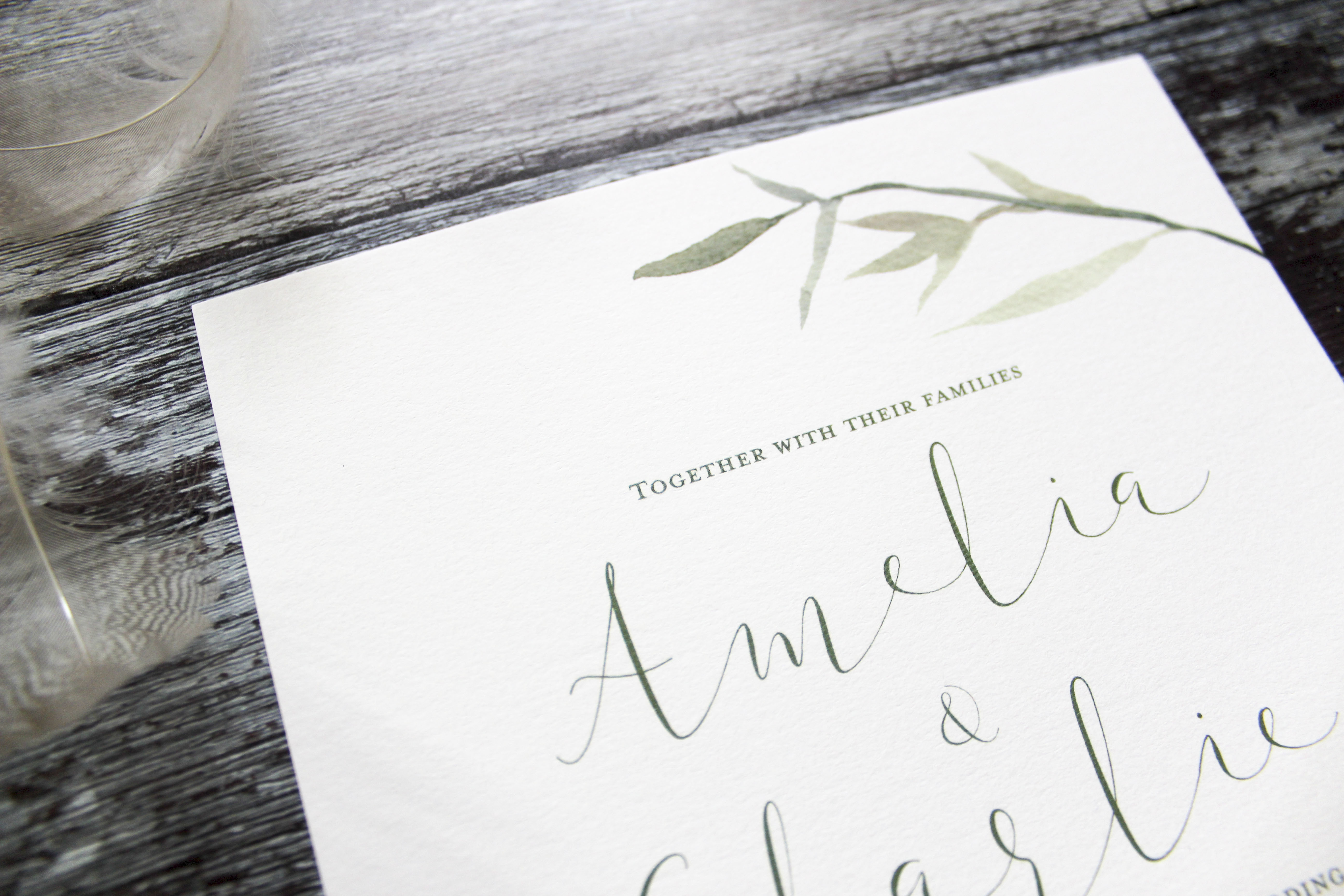 watercolour leaves wedding invites