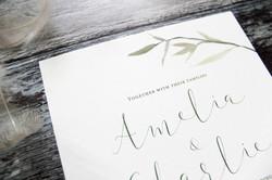 watercolour leaves wedding invites