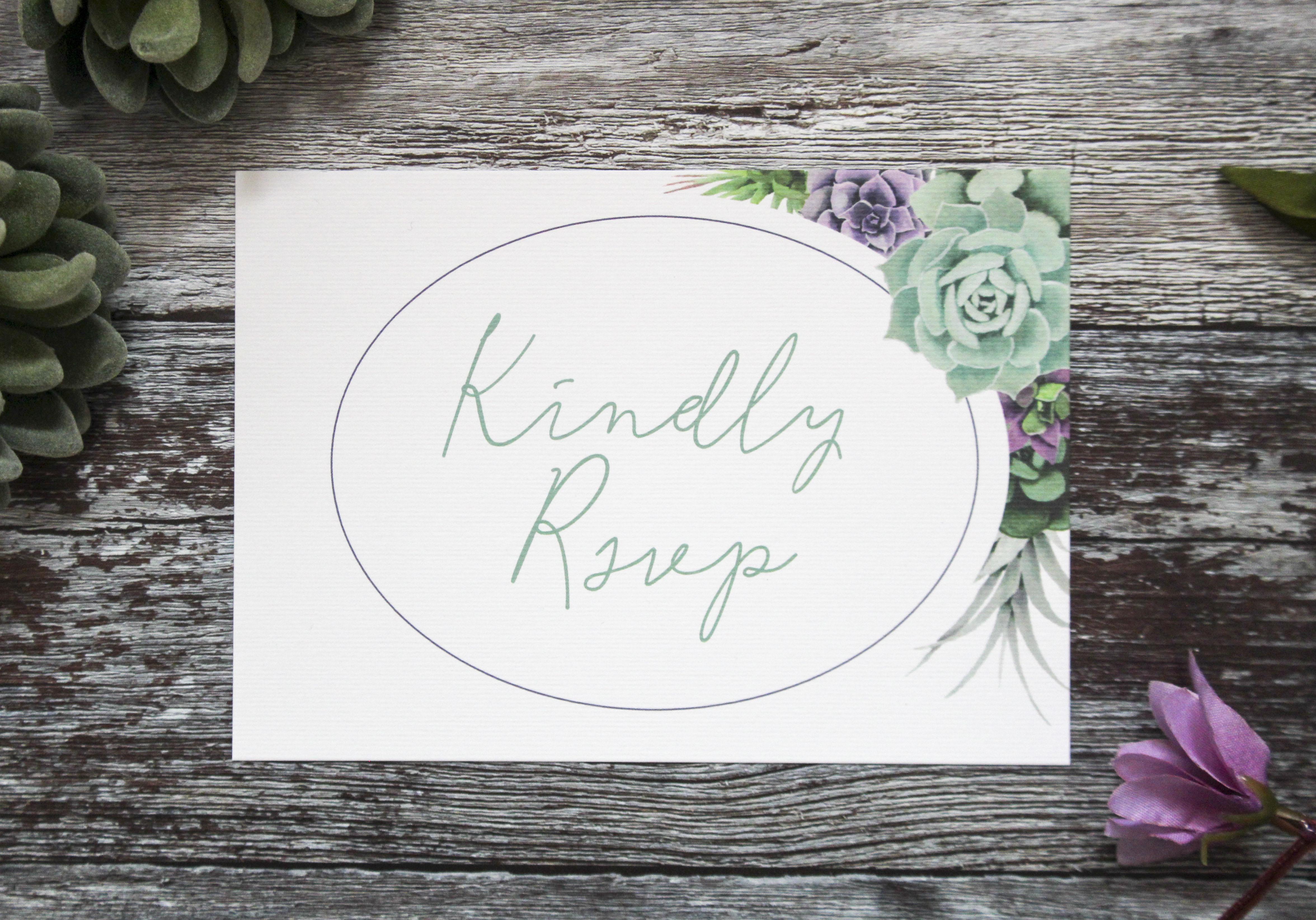 Succulent rsvp card
