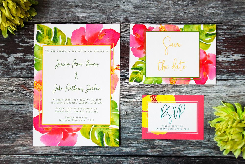 Destnation wedding stationery Aloha save the dates invitations
