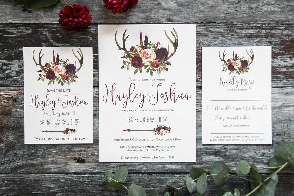 wedding invitation with deer antlers