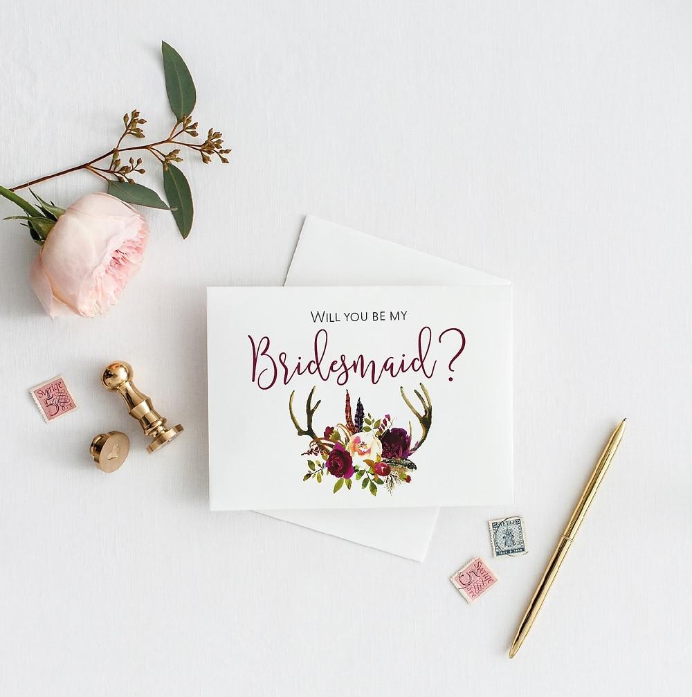 rustic deer antler bridesmaid card