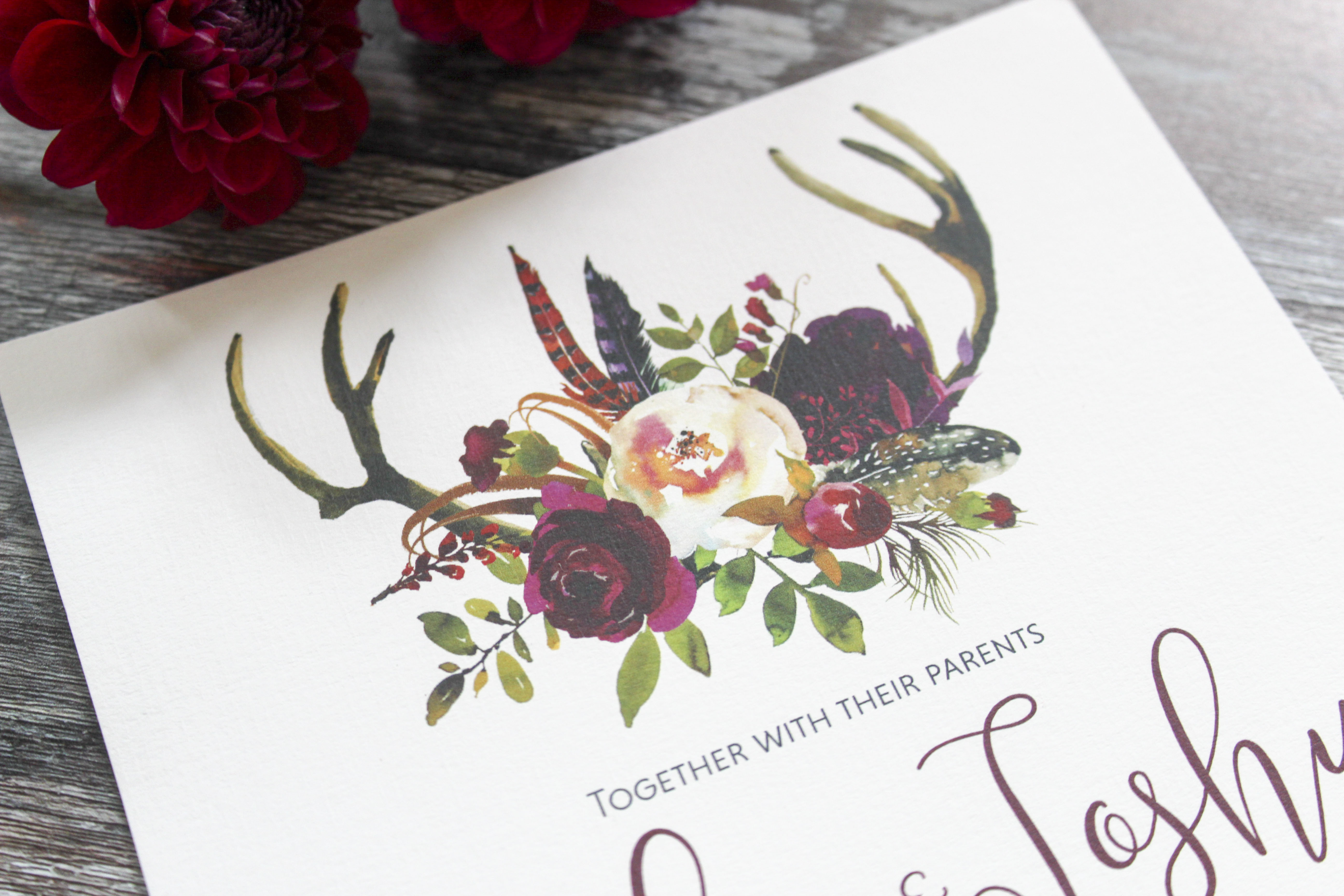 winter floral antler invite