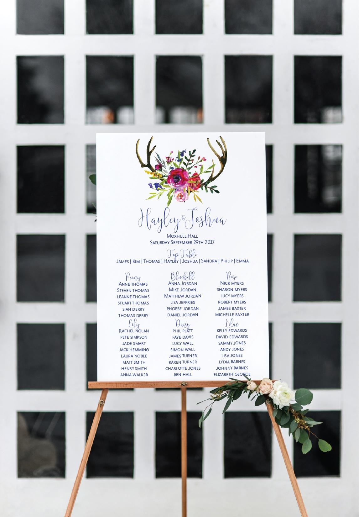deer antler wedding seating chart