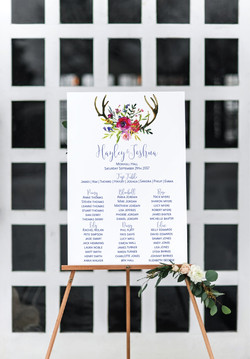 deer antler wedding seating chart