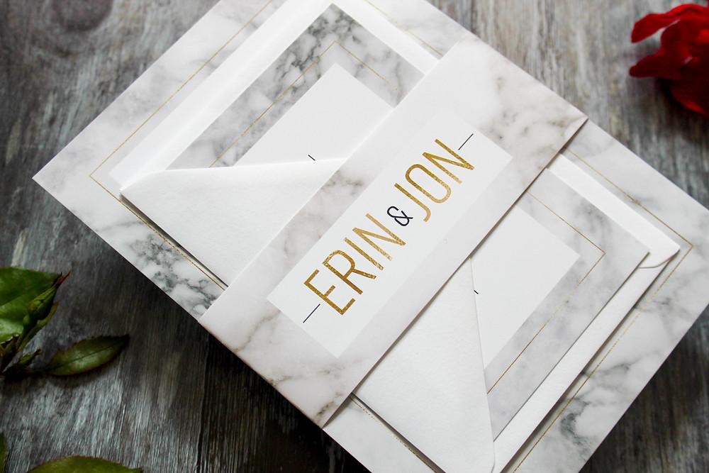 marble wedding stationery set
