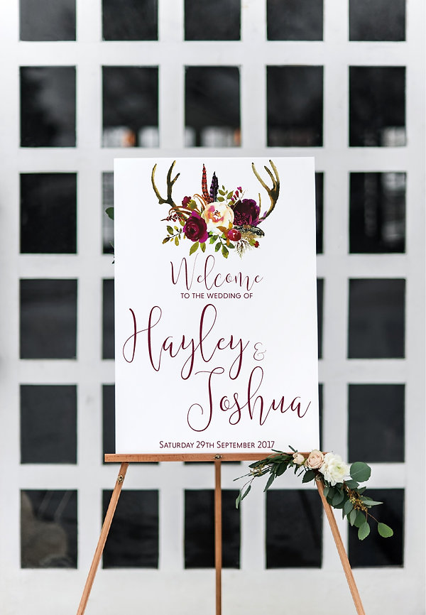 boho wedding antler wedding welcome sign