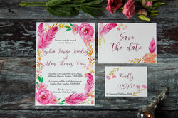floral feather wedding invitations
