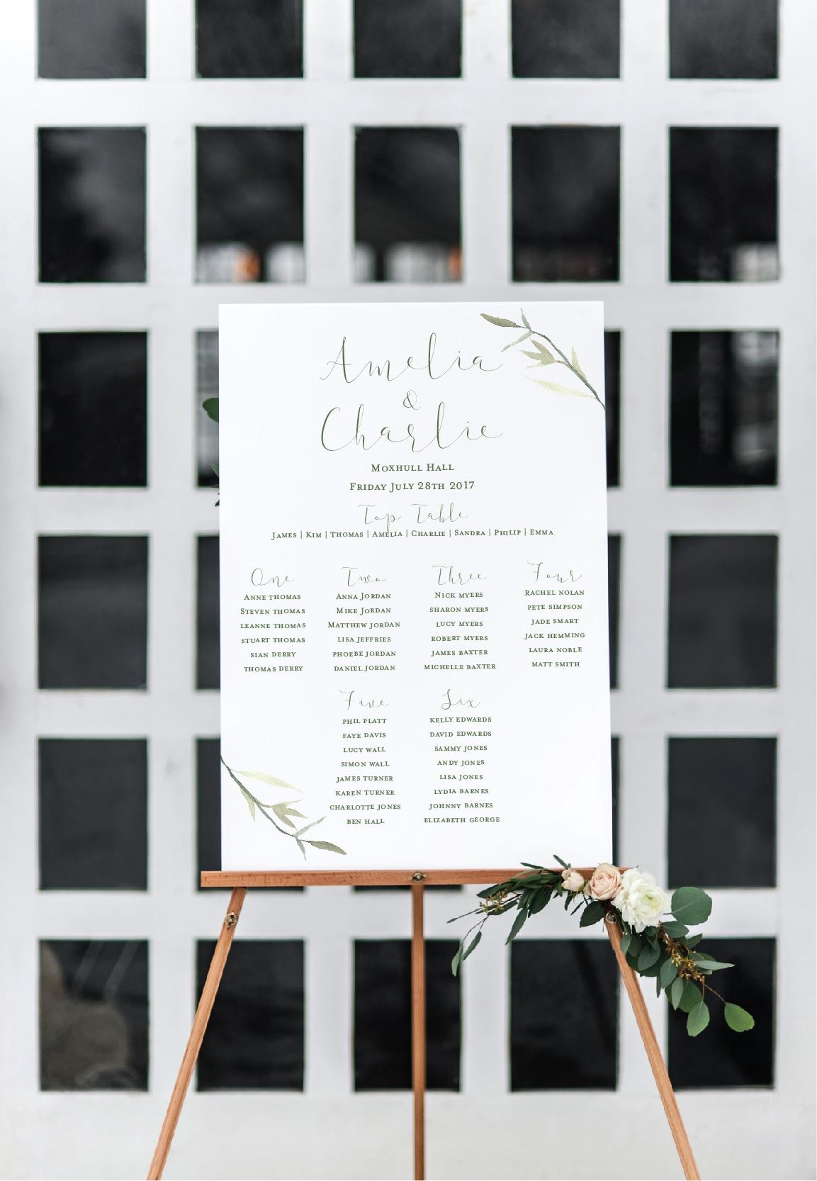 Botanical leaf table plan