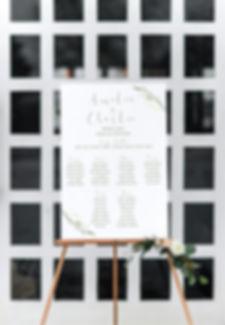 Watercolour leaf wedding table plan
