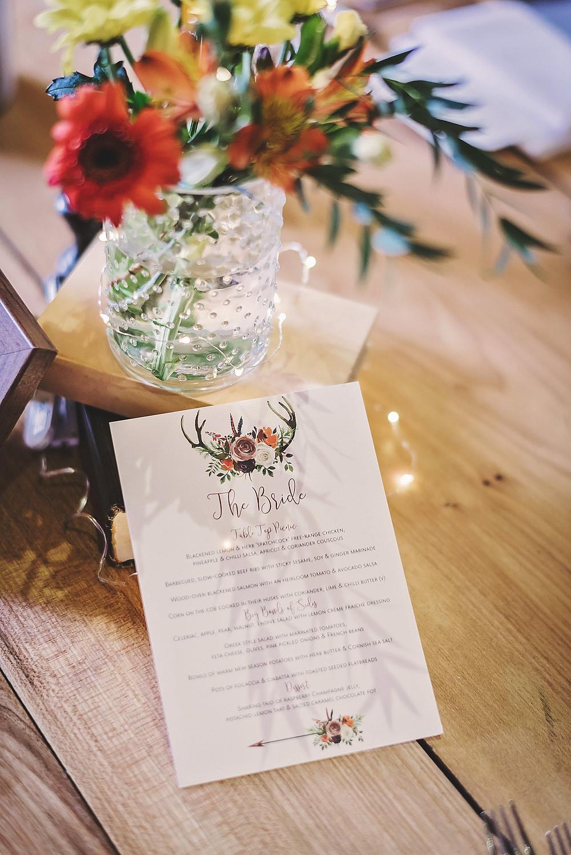 Autumn wedding menu antlers orange brown