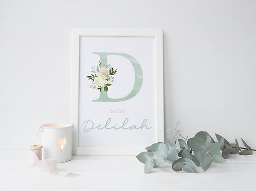 Mint green floral print