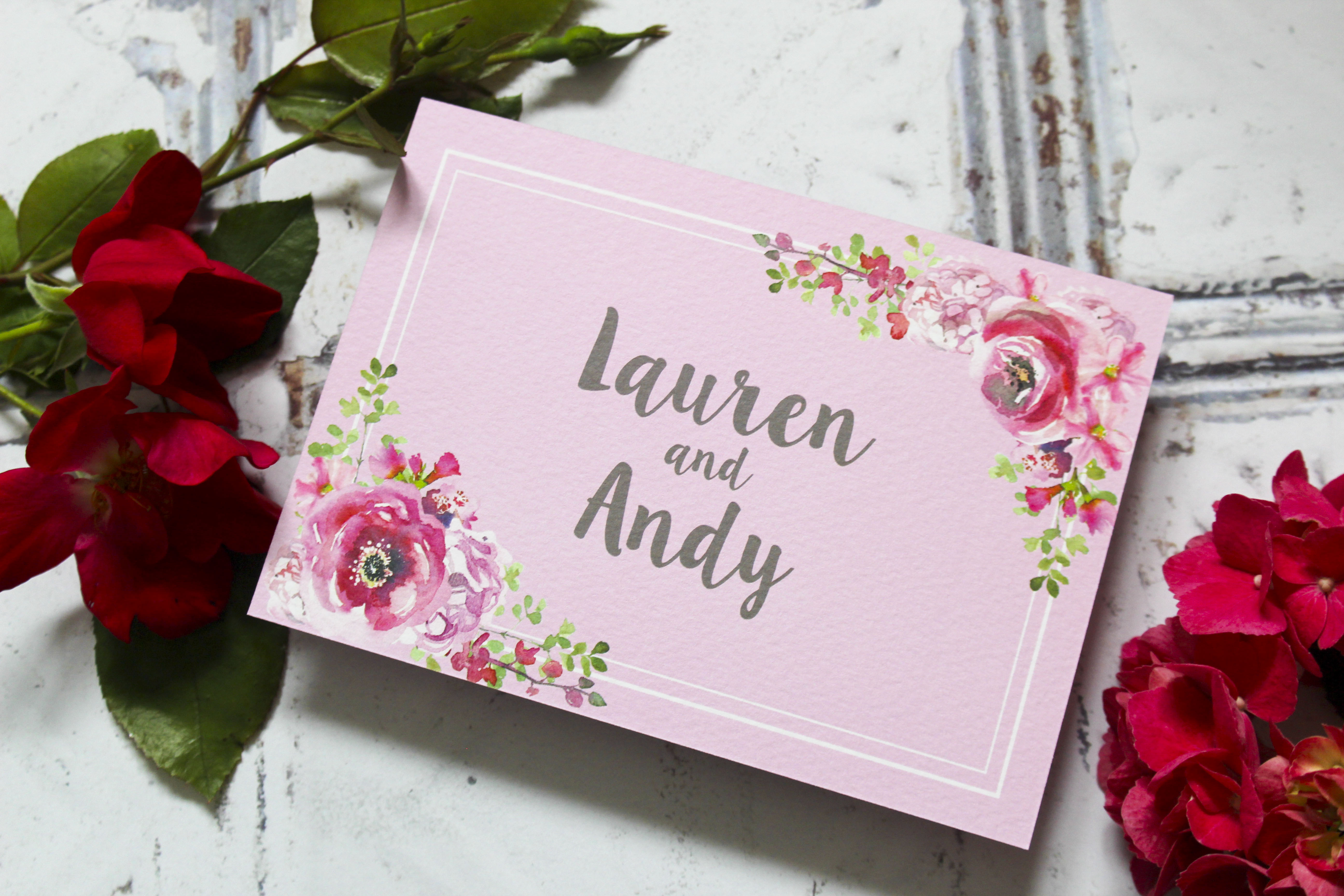 Rustic floral wedding save the date