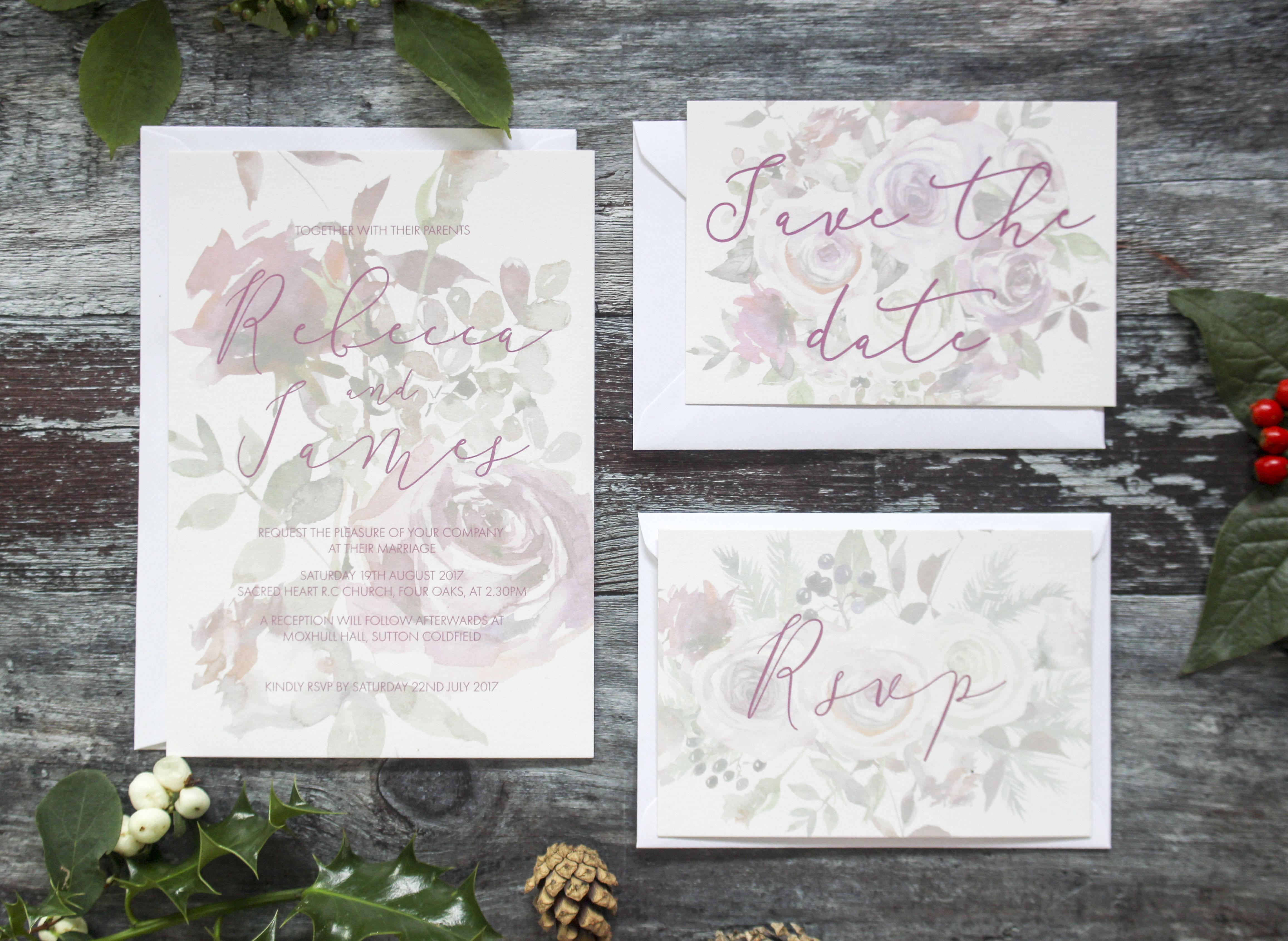 winter berry wedding invitations