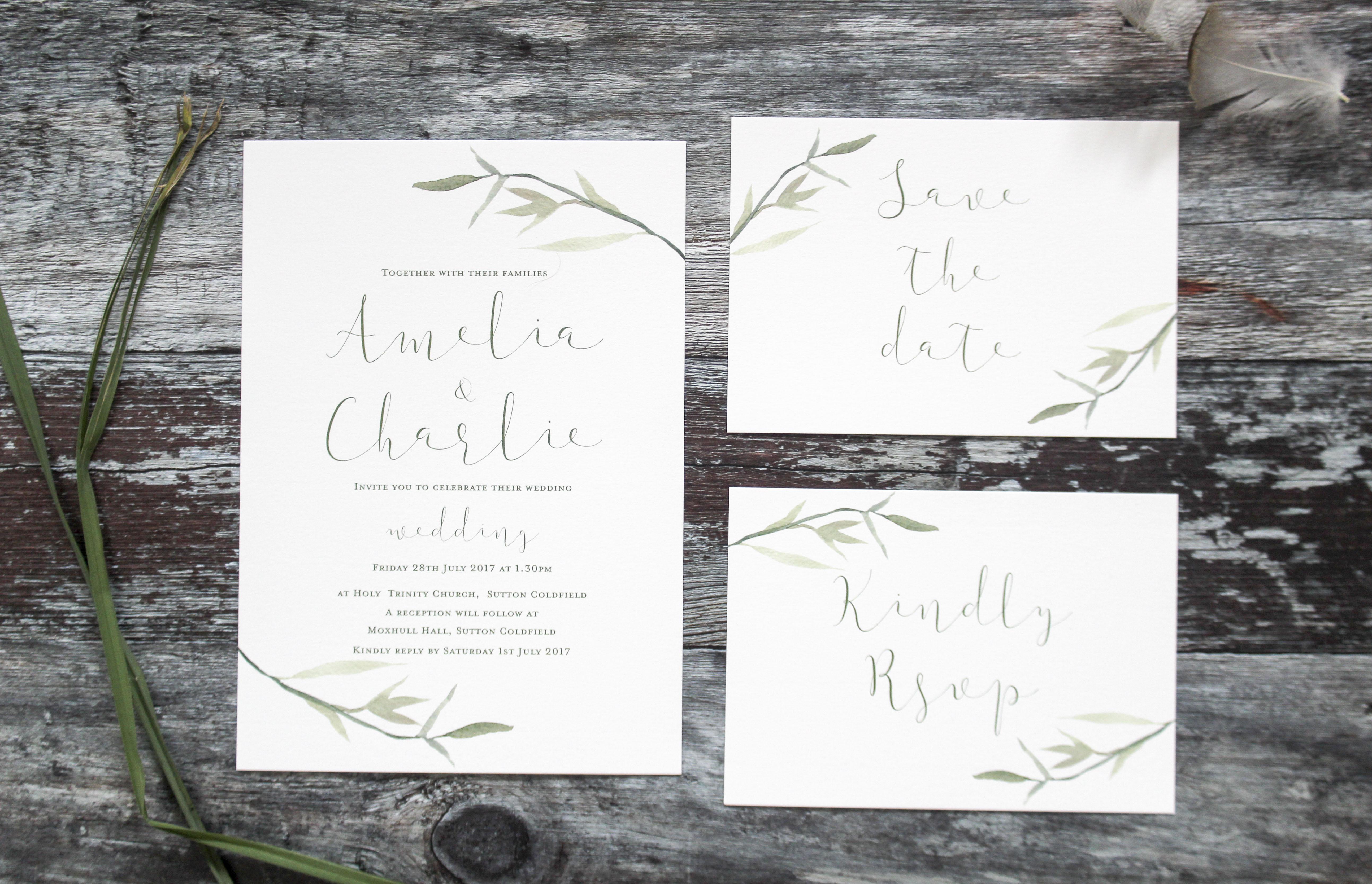 natural wedding invitation set