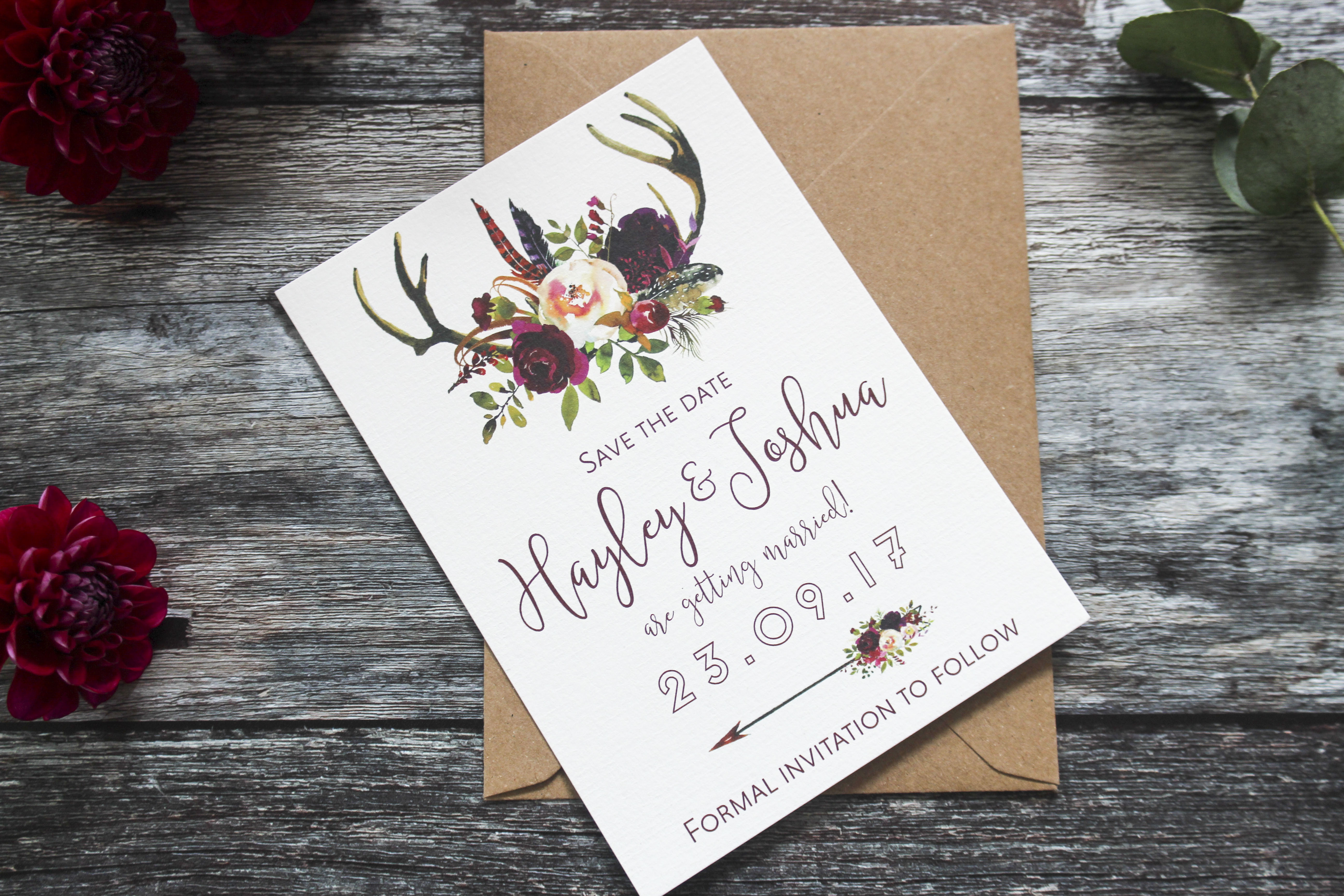 winter antler save the date cards