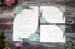 succulent wedding invitation set