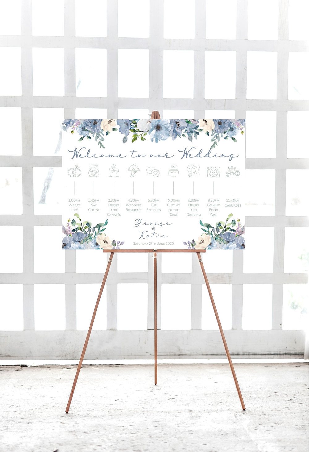 dusty blue floral order of the day sign welcome wedding