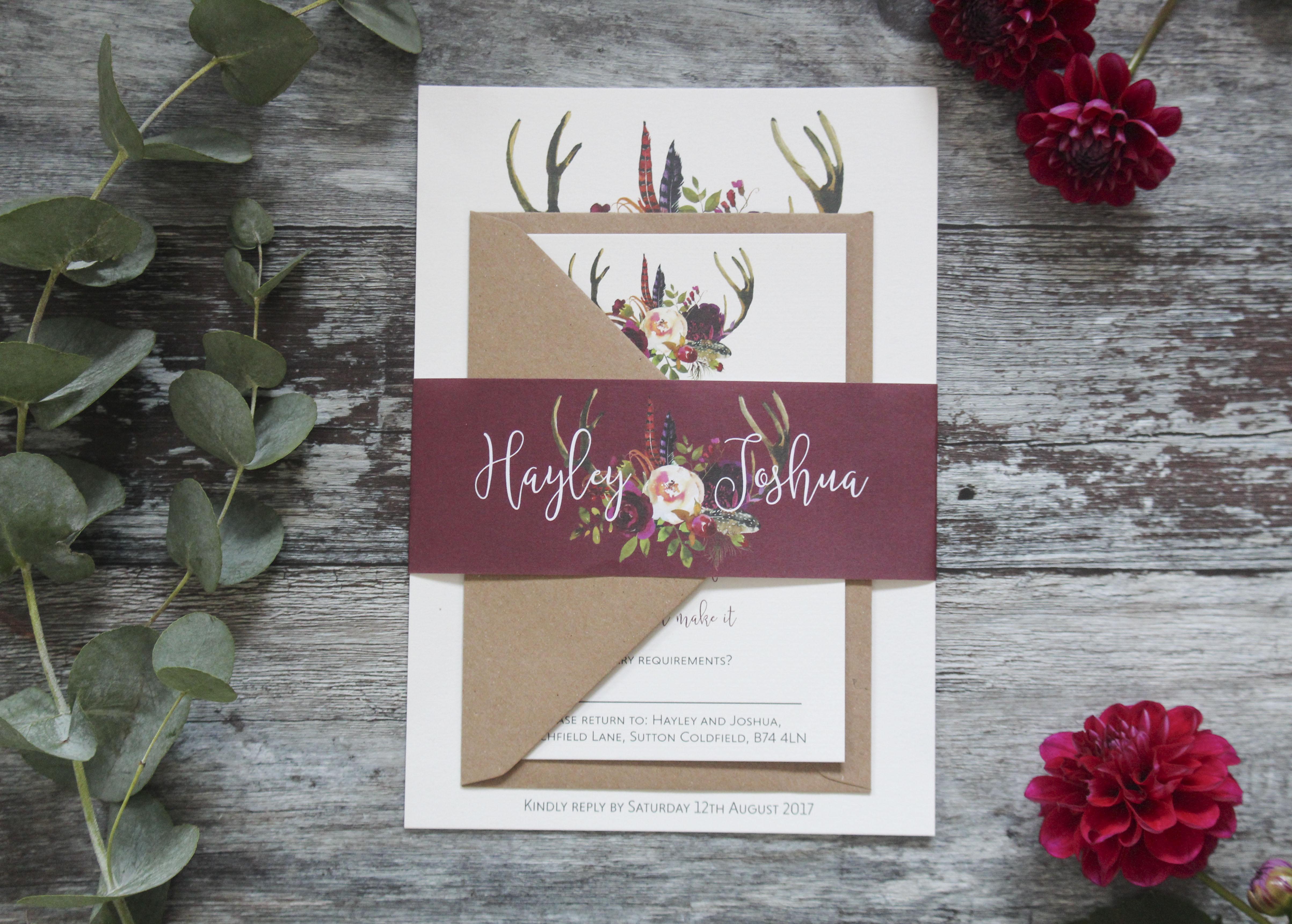 boho wedding invite bundle