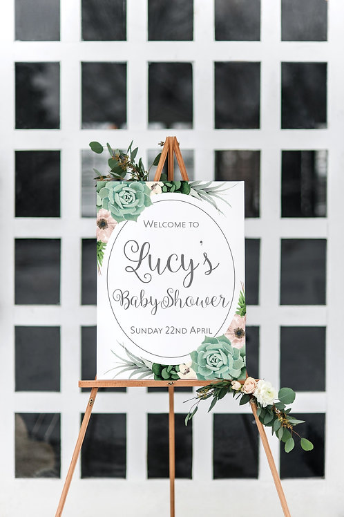 Baby in Bloom welcome sign