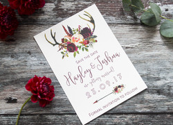 antler wedding save the dates