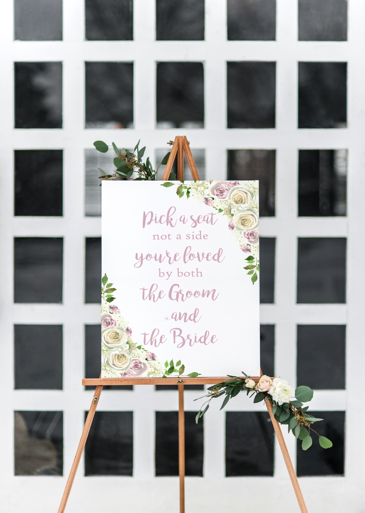 rustic pick a seat wedding sign