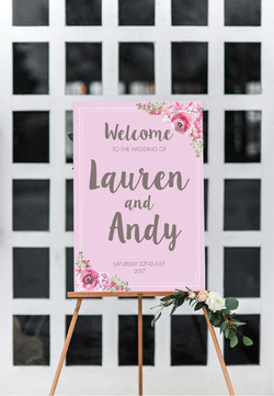 rustic floral pink wedding sign