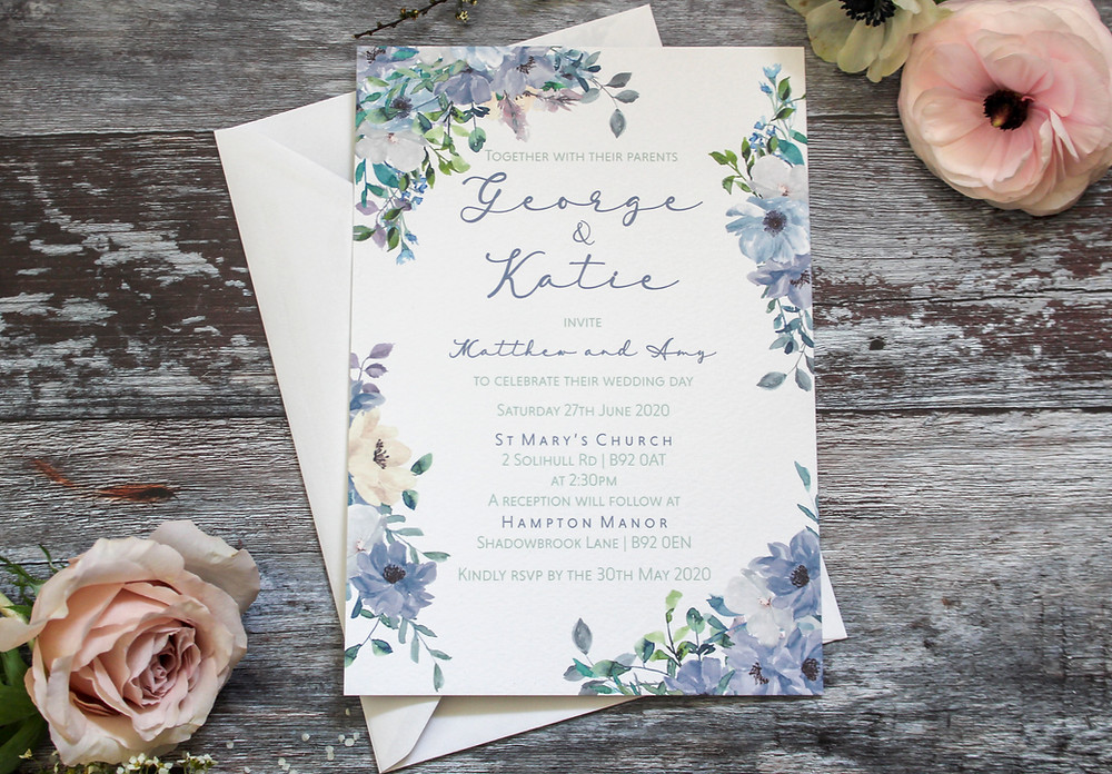 dusty blue wedding invites