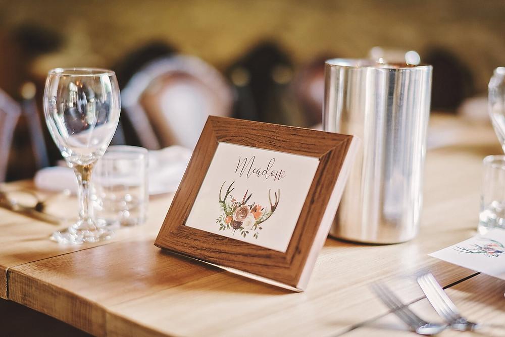 rustic table names deer antler autumn wedding