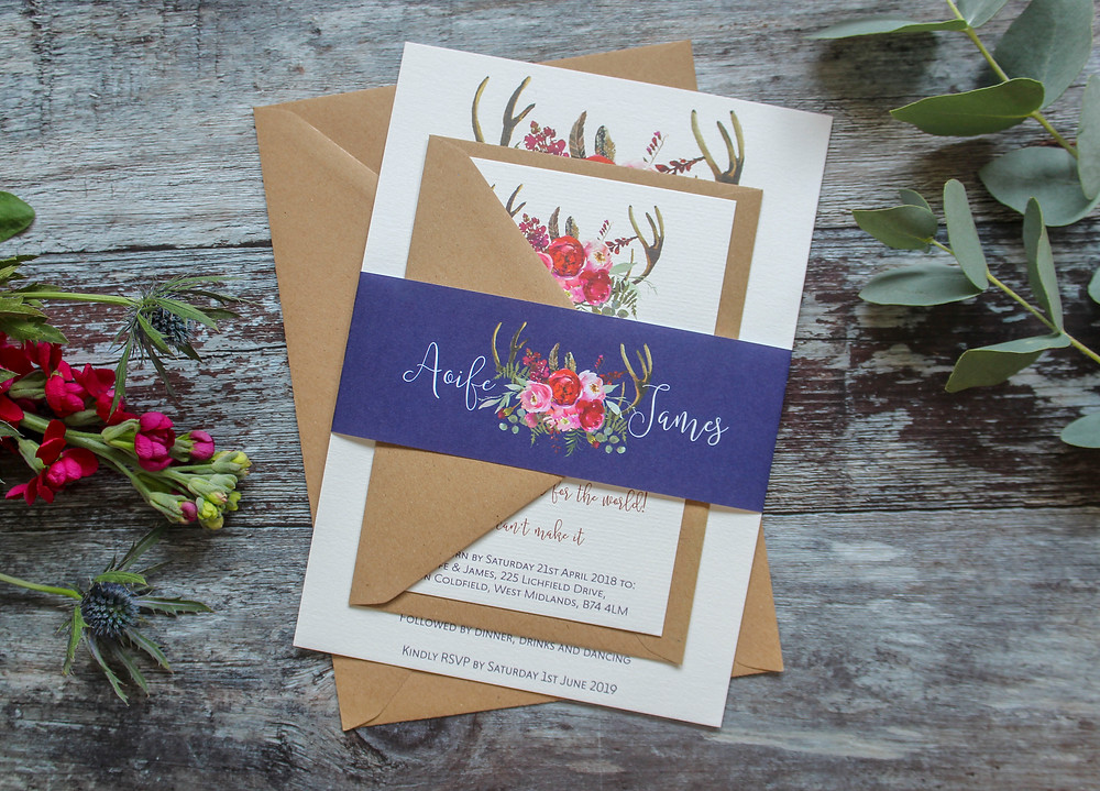navy blue rustic floral wedding invites