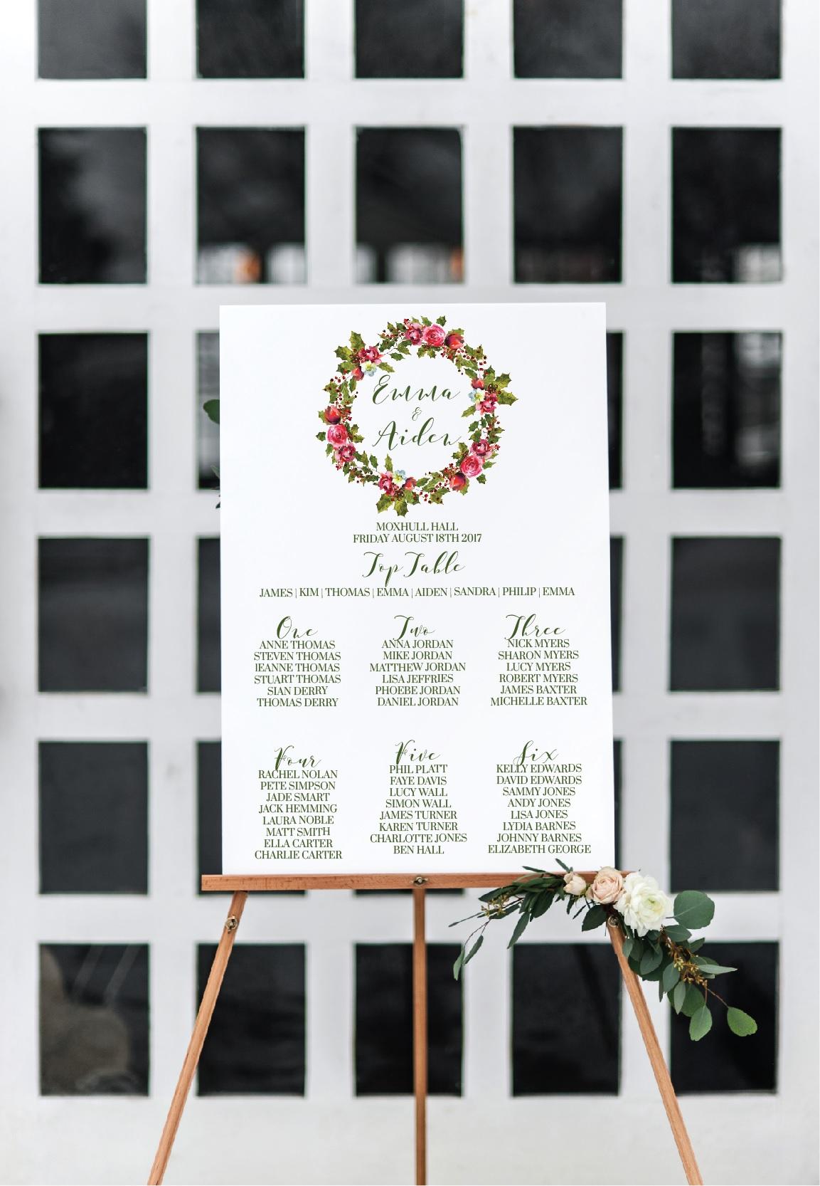Winter wreath wedding table plan