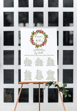 Winter wreath wedding table plan