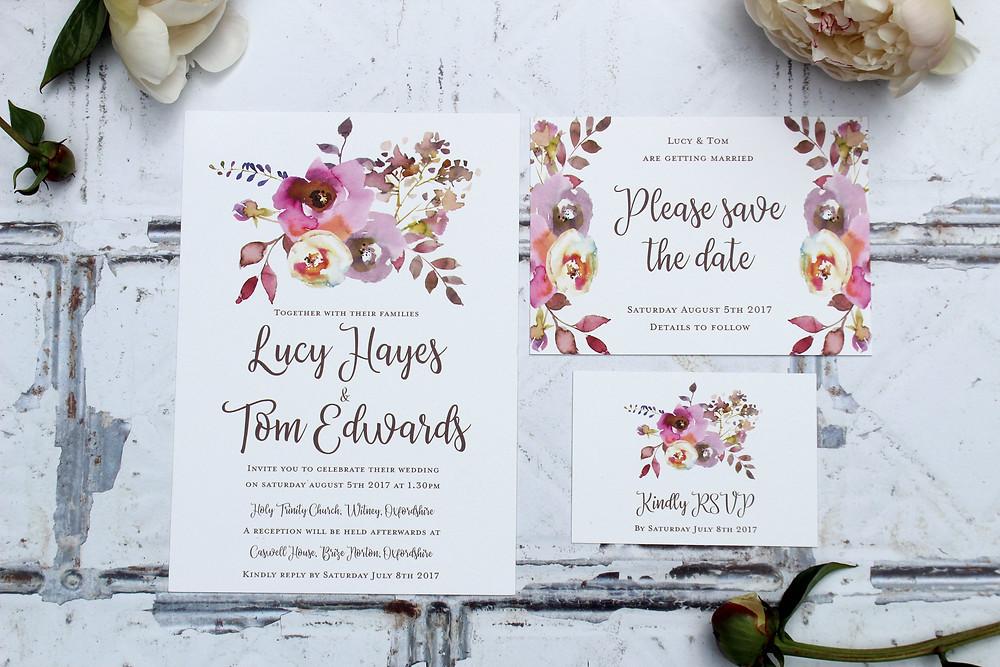 floral wedding invitations west midlands