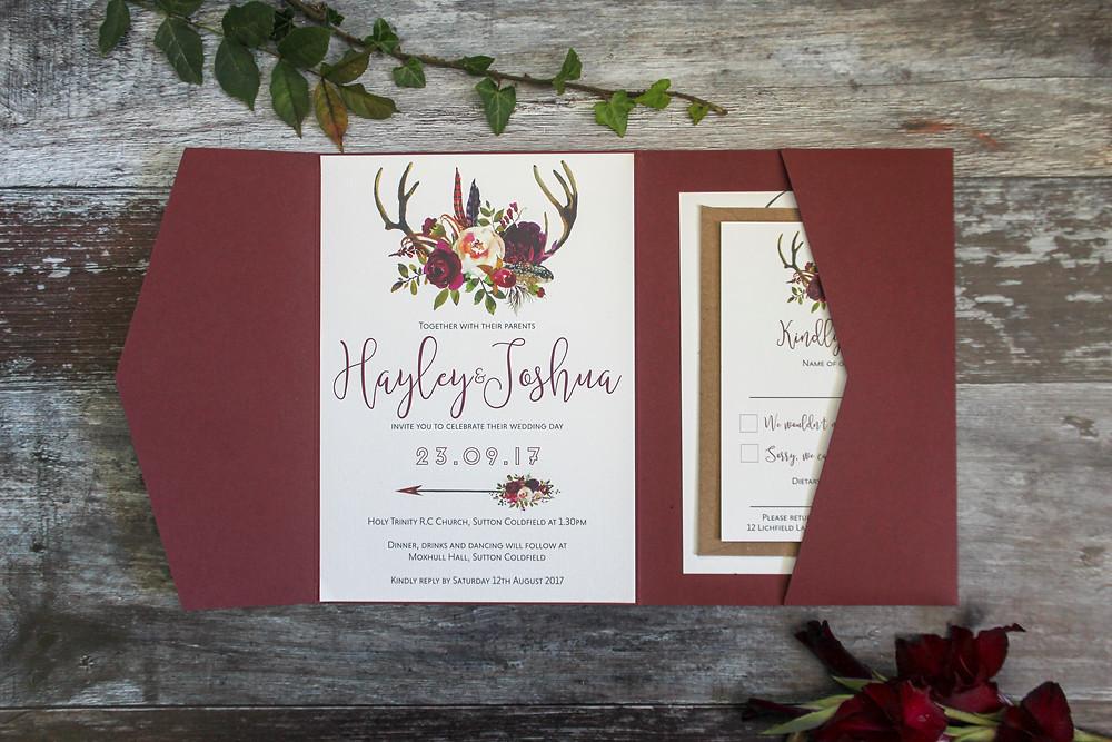 burgundy pocketfold invitation
