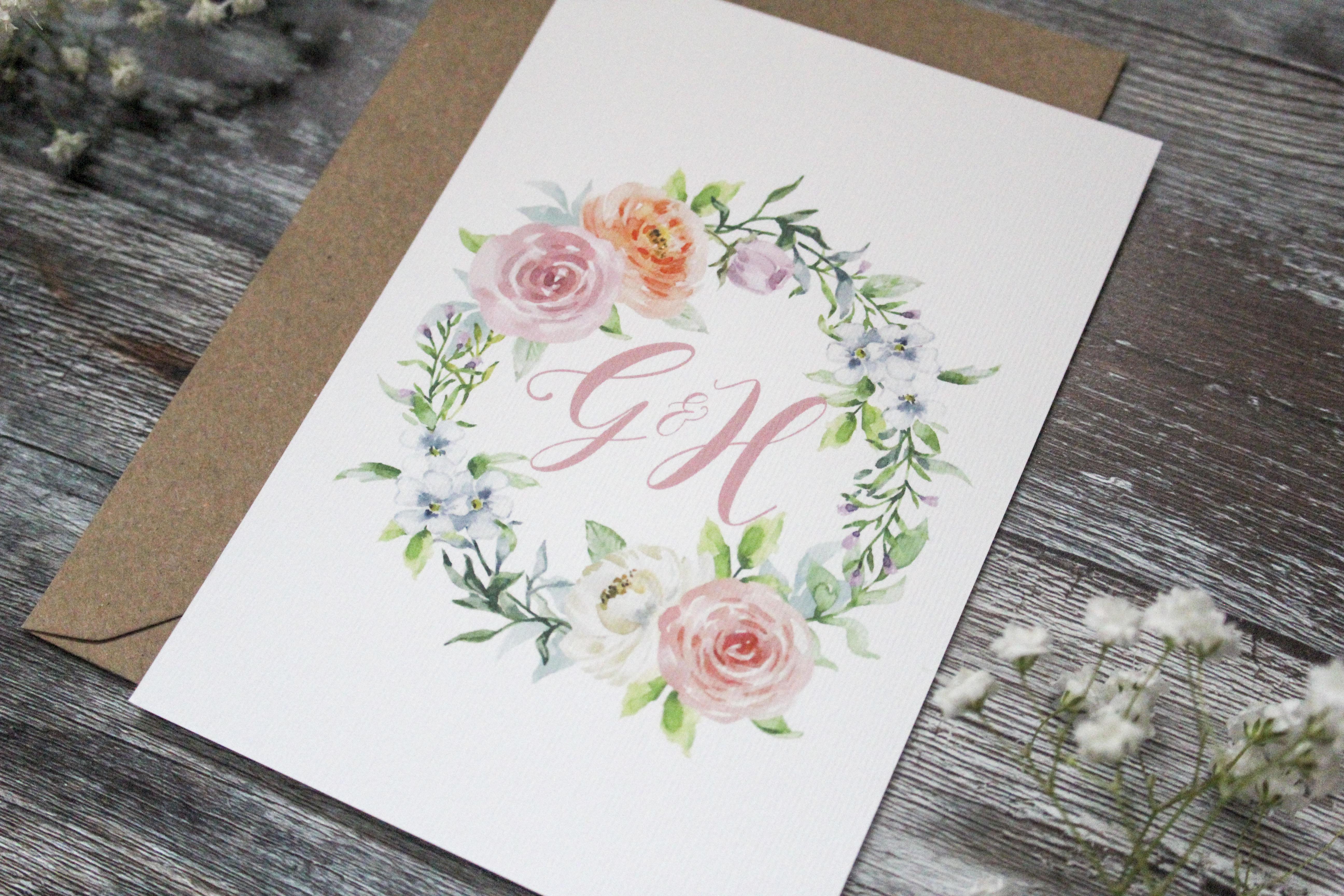pastel floral wedding invitation