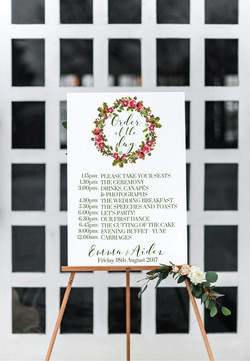 Winter wedding wreath wedding sign