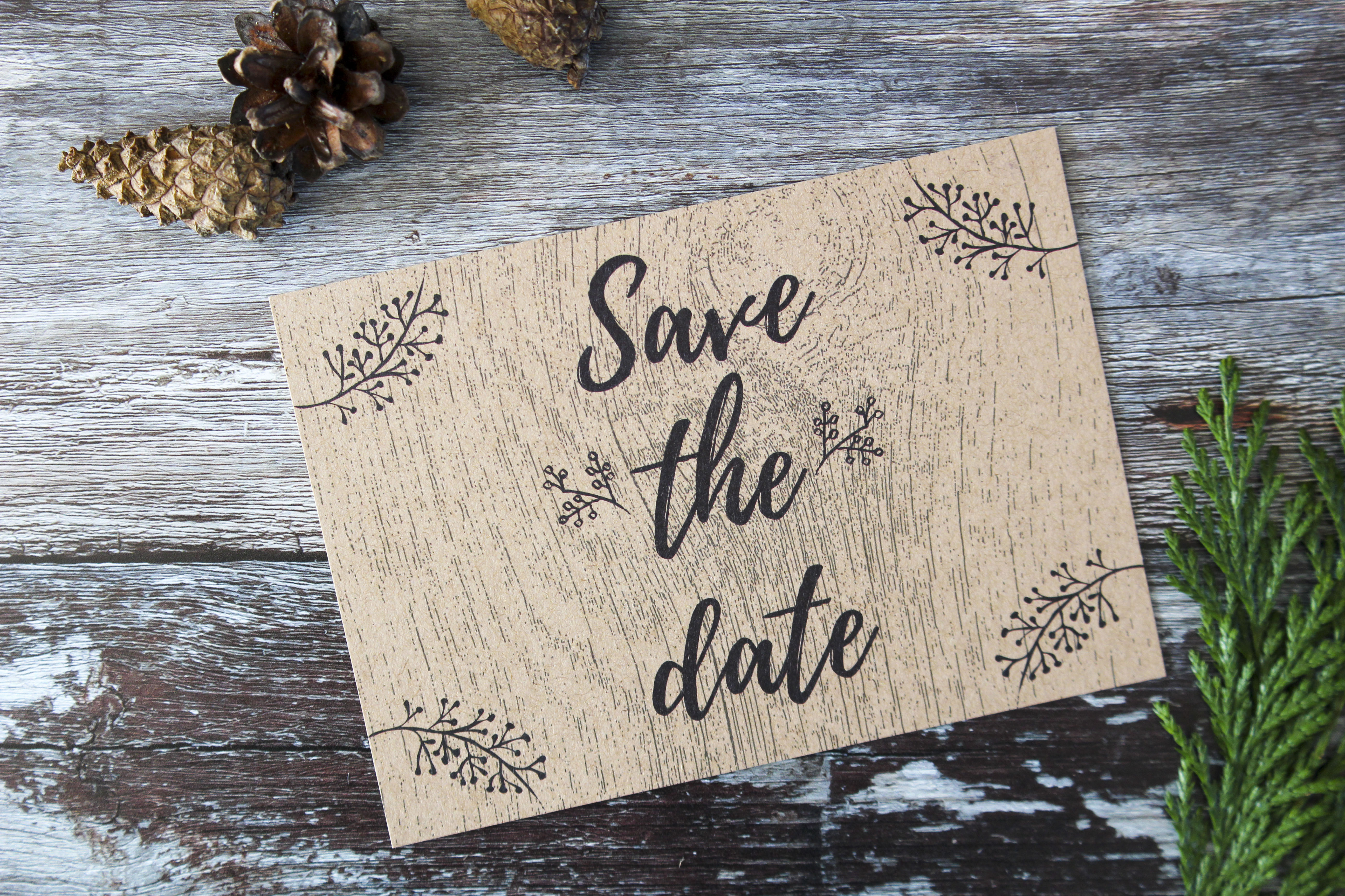 rustic wood deer save the dates