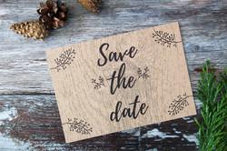 rustic wood deer save the dates
