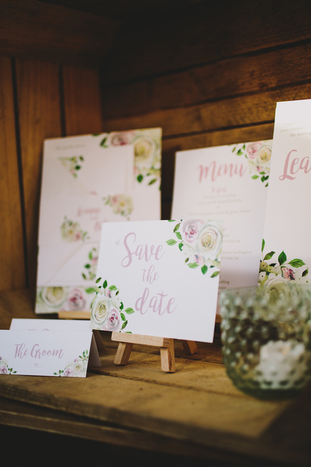 rustic floral wedding stationery blush pink