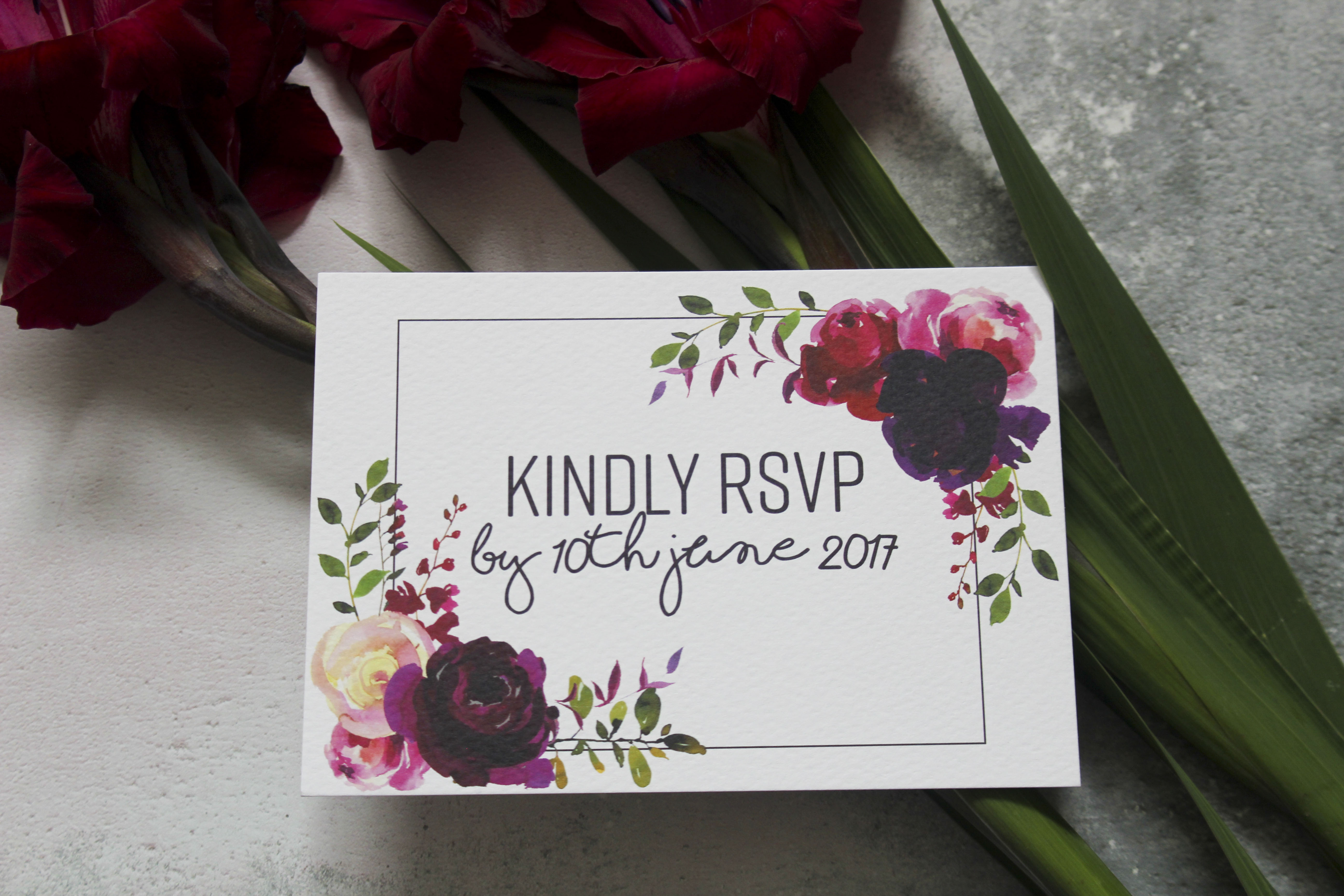 dark floral wedding rsvp cards