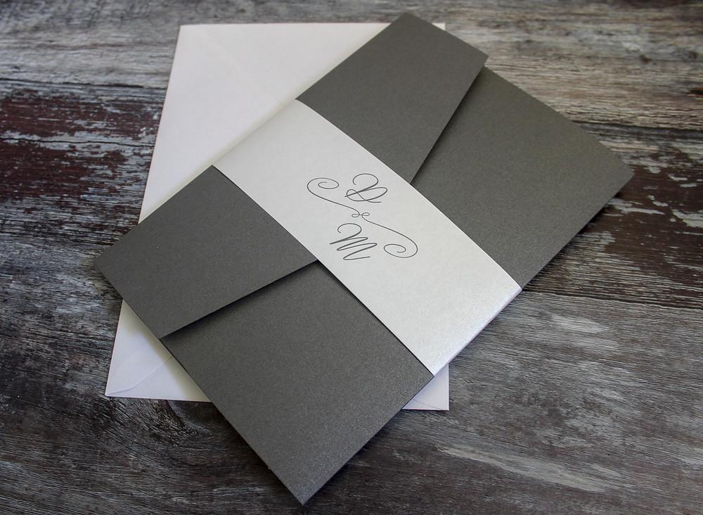 elegant grey pocketfold invitation