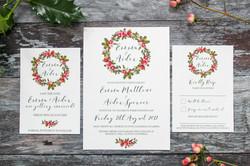 winter wreath wedding stationery
