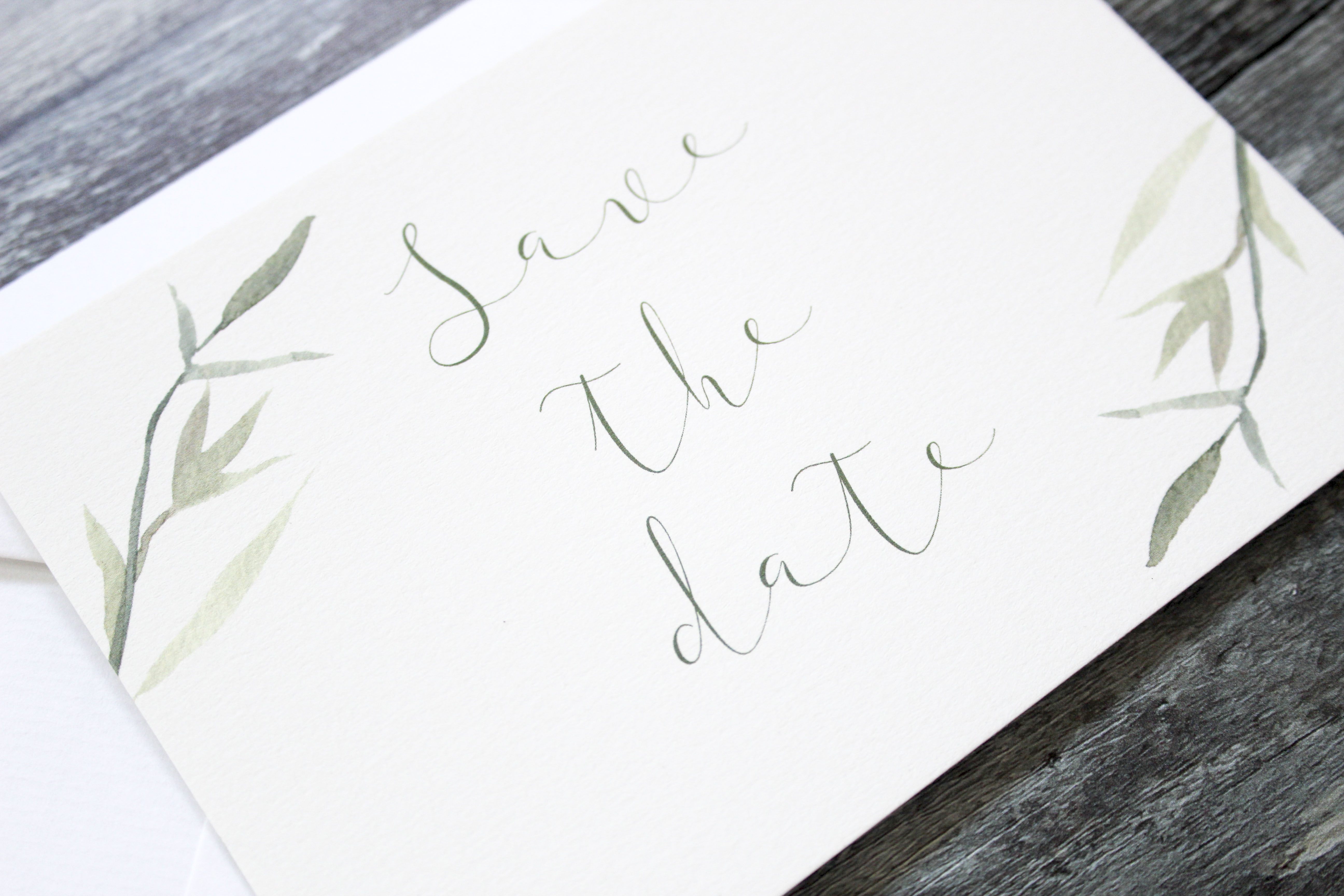 rustic leaf save the date