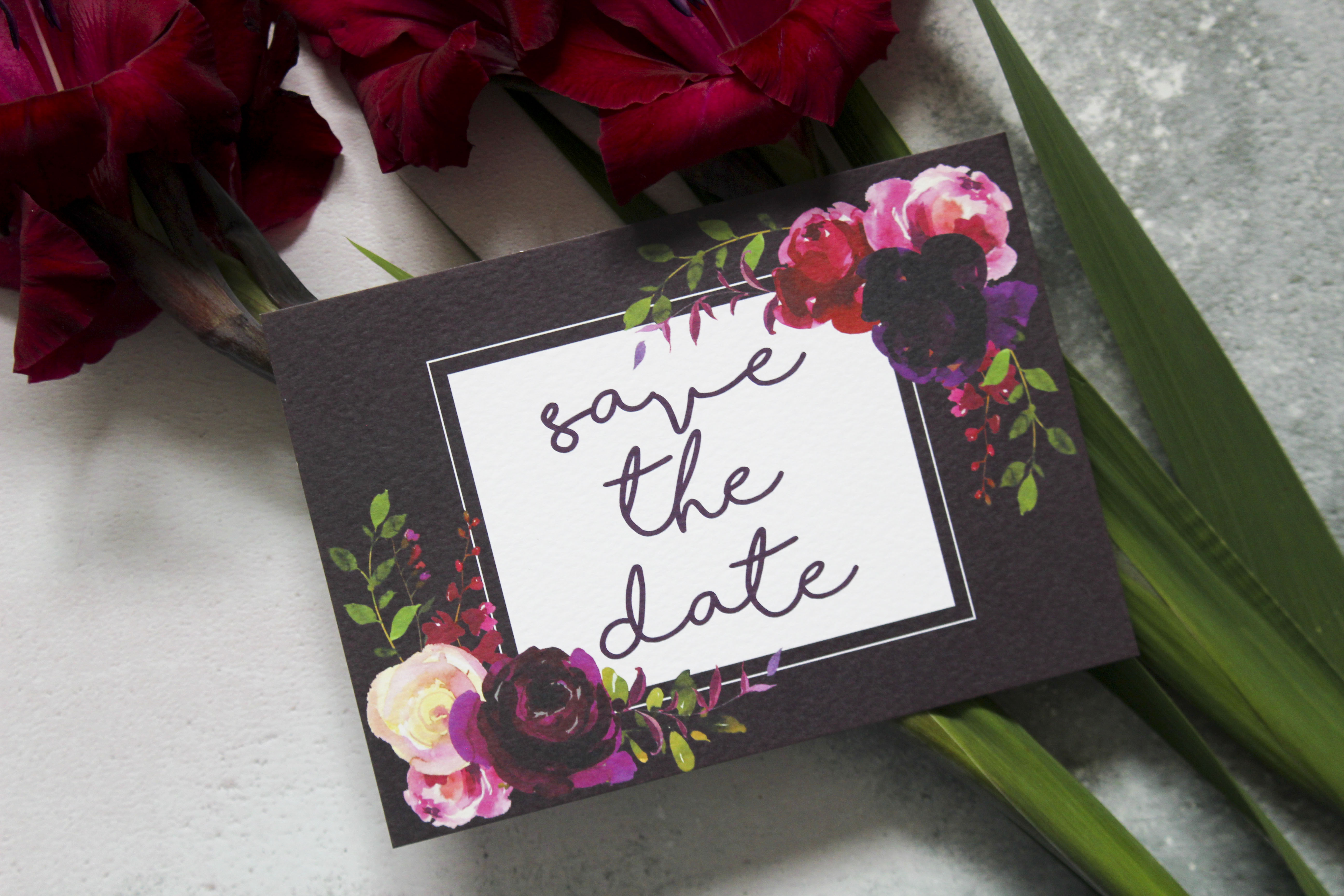 dark floral save the dates
