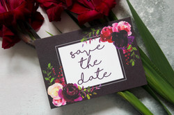 dark floral save the dates