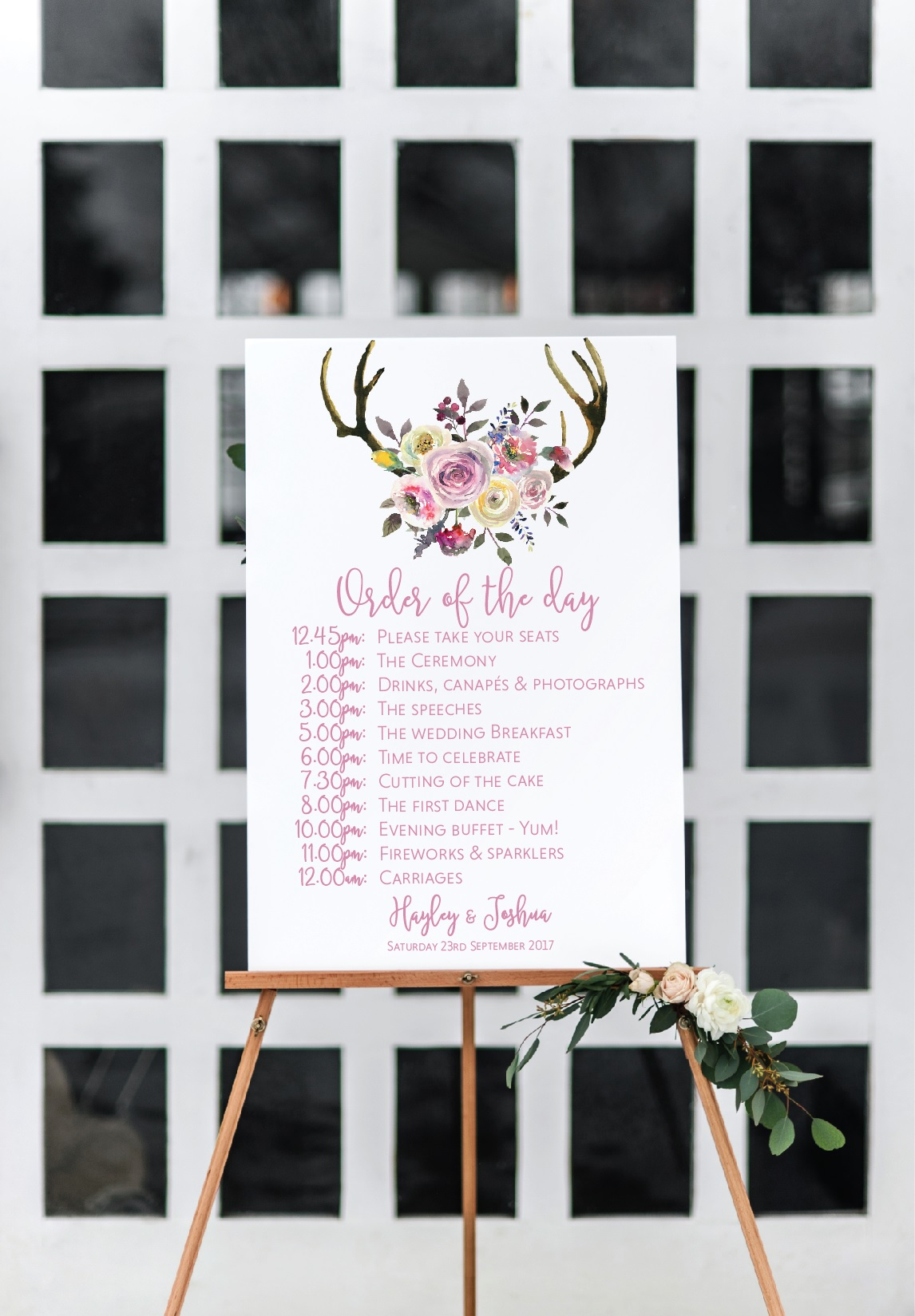 Rustic pink floral wedding sign