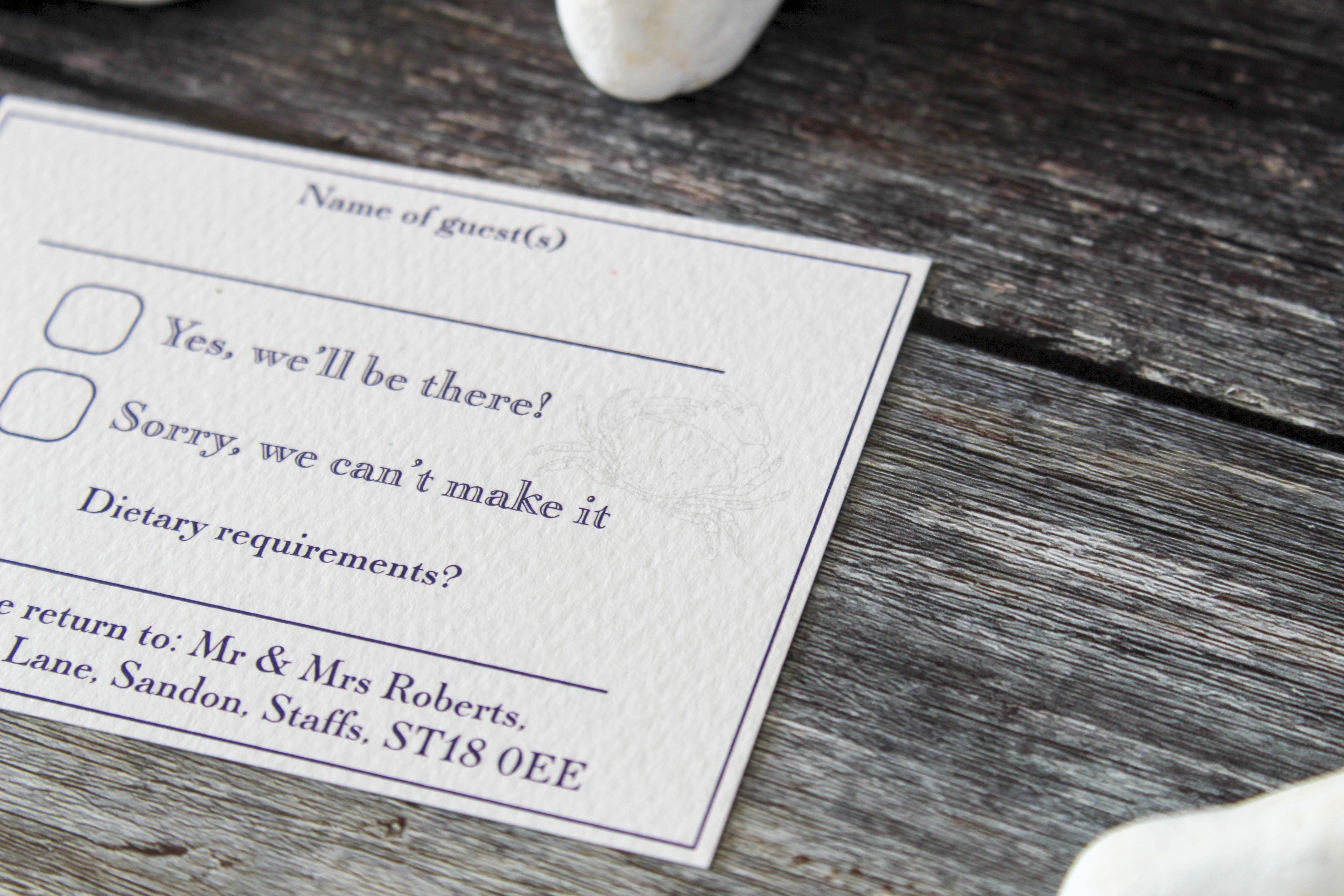seaside wedding stationery